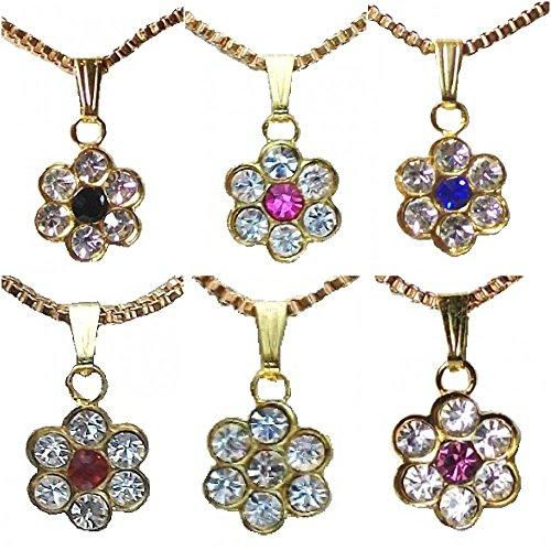 nk Blau Rot Lila Kristall Diamant Blume Party Halskette Anhänger für Mädchen Frauen (Teenager Mädchen Halloween Kostüme Uk)
