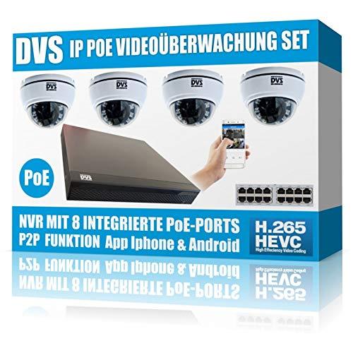 Preisvergleich Produktbild Videoüberwachung mit 4 IP Dome Kameras ideal für Friseursalons,  Kosmetik-Studios - 2000GB Festplatte