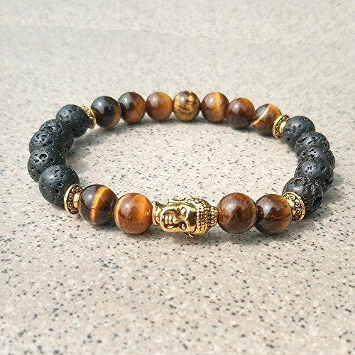 Burenqi@ Bead Armband Buddha Kopf allgemeine Quadrat 8mm vulkanischen Stein Perlen Religion, C