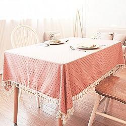 qwer Sello de lujo rústico, manteles de algodón mesas rectangulares manteles de tela cubierta de polvo ,90*140