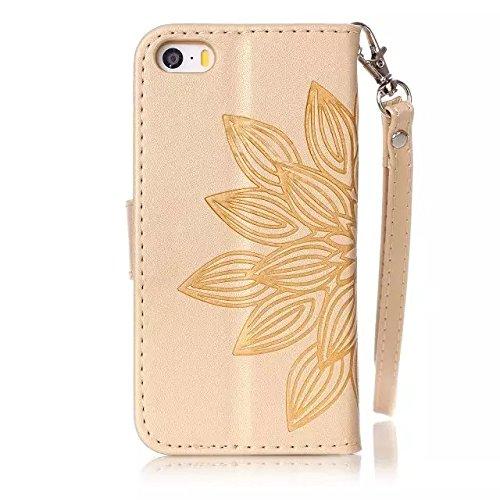 Etsue Handytasche für iPhone 6S/iPhone 6 (4.7 Zoll) Brieftasche Hülle,iPhone 6S/iPhone 6 (4.7 Zoll) Rose Blume Muster Ledertasche Leder Flip Case Wallet Cover Schutzhülle mit Magnetverschluß Etui Scha Mandala Blumen,Golden