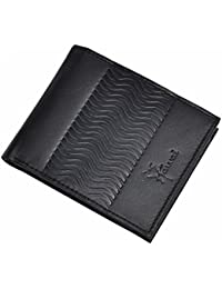 Hawai Wavy Textured Black Leather Wallet For Men