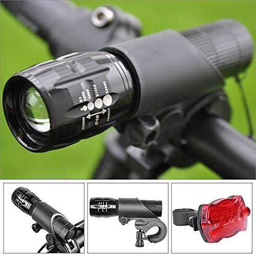 Preisvergleich Produktbild Fahrrad Mini Lampe Set 500 Lumen Wasserdicht klein leicht Frontlich und Rücklicht (2pcs. Cree Q5 LED Scheinwerfer, 2 Hand Stab Taschenlampe Halter und Heck Rücklicht Leistung: 3 x AAA Batterien /1 x 18650 Batterien (nicht enthalten) ) verstellbar Taschenlampe