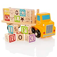 Milly & Ted Wooden Alphabet Blocks Toy Truck - Educational Letters & Picture Cubes