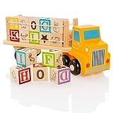 Milly & Ted Camion de Jouet en Blocs en Bois avec Lettres Lettres éducatives & Cubes illustrés