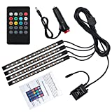 Justech 12V LED Strip Lights Car Interior Lights Footwell Lights Dimmable Ambient Lighting RGB SMD 48 LED Car Mood Lights Waterproof With Wireless Music Control and Cigarette Lighter