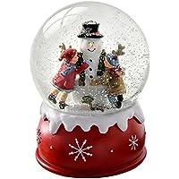 WeRChristmas Children and Snowman Snow Globe Christmas Decoration, 14 cm - Multi-Colour