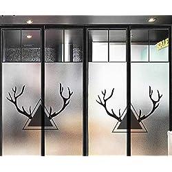 zjldelvc Nordic Elk Verre Dépoli Feuille De Porte De La Salle De Bains Porte Fenêtre Anglaise Fenêtre Autocollant Électrostatique Transparence Opaque 60X90Cm