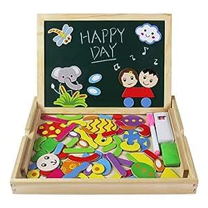 Jerryvon puzzle magnetique bois jouets tableau noir avec for Tableau noir pour enfant
