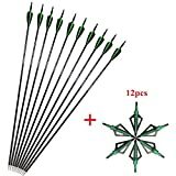SHARROW 12pcs Flèches de Carbone 30.5 Pouces Flèches de Chasse Spine 500 pour Arc...