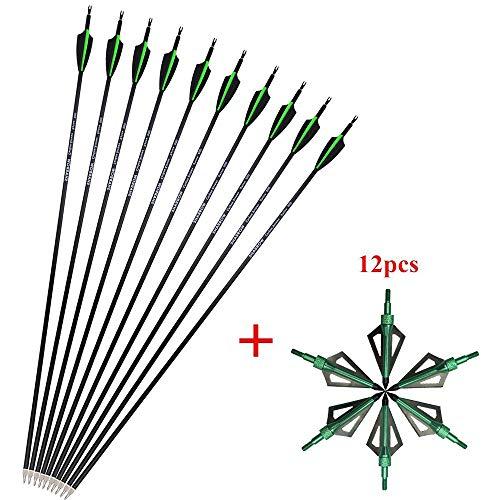 SHARROW 12pcs Flèches de Carbone 30.5 Pouces Flèches de...