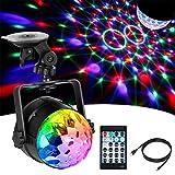 Anpro Discokugel LED Discolicht mit 15 Beleuchtungsform, Disco Lichteffekte 360°Drehbares RGB Partylicht Led Disco Ball mit USB Kabel für Weihnachten, Kinder Geburtstag, Partei