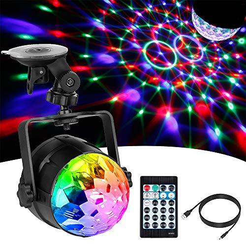 Anpro Discokugel LED Discolicht mit 15 Beleuchtungsform, Disco Lichteffekte 360°Drehbares RGB Partylicht Led Disco Ball mit USB Kabel für...