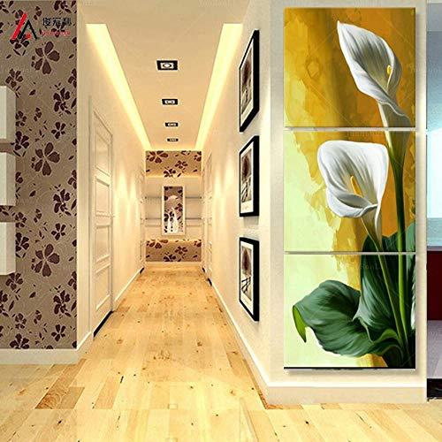 Calla Flor Formas Verticales 3 Paneles Moderno Cuadro