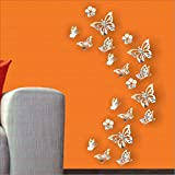 #9: LOOK DECOR Butterfly Silver (pack of 20) Code 20 Acrylic Sticker, 3D Acrylic Sticker, 3D Mirror, 3D Acrylic Wall sticker, 3D Acrylic stickers for wall, 3D Acrylic Mirror stickers for living room, bedroom, kids room, 3D Acrylic mural for home & offices decor