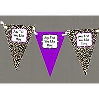 Stampa leopardo e viola personalizzato per il compleanno Party–Striscione con bandierine, decorazione, Purple, Grande - Compleanno Banner Misure