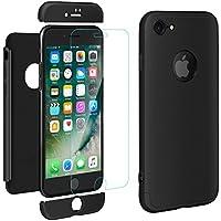"""iPhone 8 Cover , ivencase Premio Ibrido Rugged 3 in 1 Duro Antigraffio Macchia PC Custodia + Pellicola Vetro Temperato Protettiva per Apple iPhone 8 4.7"""" Nero"""