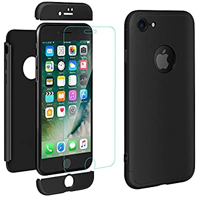 ivencase iPhone 8 Cover Premio Ibrido Rugged 3 in 1 Duro AntiGraffio Macchia PC Custodia + Pellicola Vetro Temperato Protettiva per Apple iPhone 8 4.7″ Nero