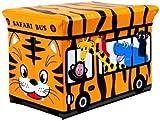Kids Childrens Large Storage Seat Stool Toy Books Clothes Box Chest (Orange Safari Bus)