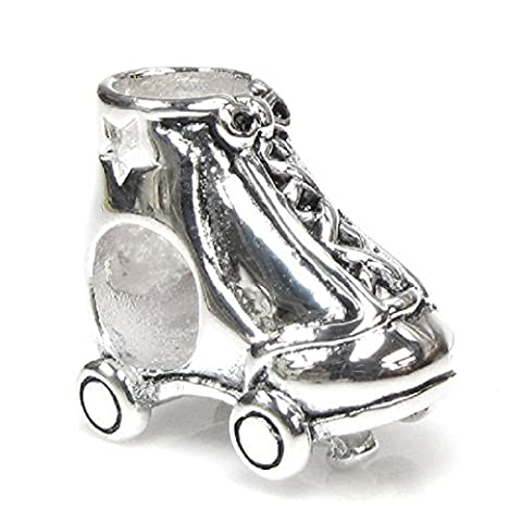 Queenberry Sterling Silver Star Roller Skate European Style Bead Charm by Queenberry