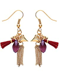 Front Row Gold Colour Red Tassel and Chain Earrings