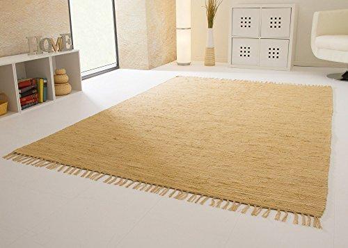 Handwebteppich Indira in Natur - Handweb Teppich aus 100% Baumwolle Fleckerl, Größe: 60x120 cm (Teppich Natur)