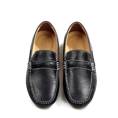 Icegrey Hommes Cuir Véritable Mode de Marche Décontracté Mocassins Chaussures Noir