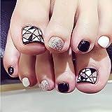 lzn 24 Pcs/Set Fashion Foot False Nail Tips Schwarz und weiß Glitter Geometry Printing Women Ladies Fake Toes Nails With Glue Toe Art Tool Schwarz