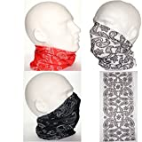 Multi Pack of 3 Biker Face Neck Tube Scarf Paisley Print
