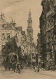 Sulis Fine Art Alfred Louis Brunet-Debaines RE (1845-1939) - Etching, London Street Scene