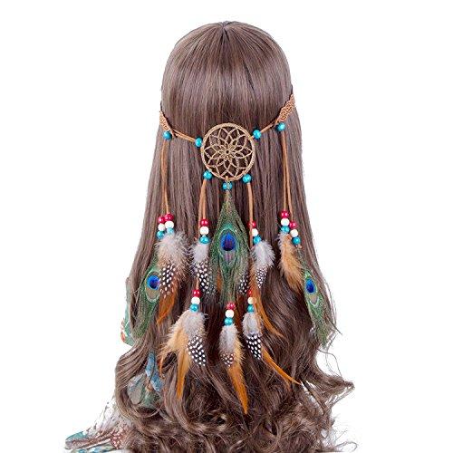 chmuck Pfau Hippie Haarband mit Dreamcatcher Boho mit Kopfbedeckungen Karneval Kopf Stück Haar-Accessoires für Party Festival (Indische Haar Accessoires)