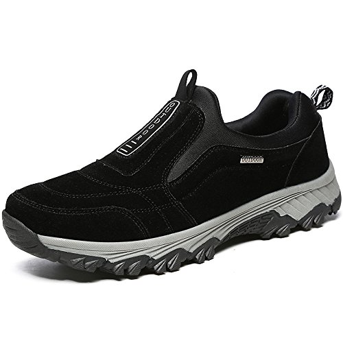VILOCY Men's Suede Leather Hiking Trekking Shoes Slip On Outdoor Sports Camping Sneaker Casual Walking Loafers Shoe Black 45