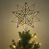Valery Madelyn illuminata Top Albero di Natale con Stella alimentata a Batteria 10 Warm Giallo LED Top Albero di Natale in Metallo e plastica Altezza 28 cm in Oro Decorazione Albero di Natale