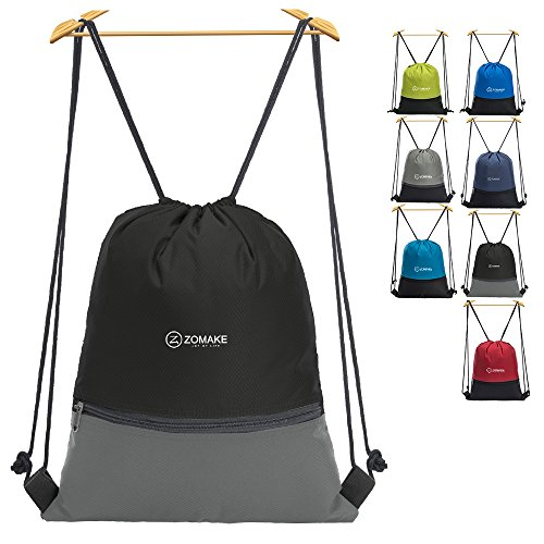 Cordón Mochila Bolsa Sackpack Impermeable Deporte Gimnasio Saco Bolsas de Cuerdas Gymsack Backpack para Hombre y Mujer Negro