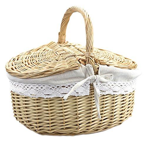 Picknickkorb mit Griff, Bügelkorb, Weidenkorb, Höhe ca. 37 cm