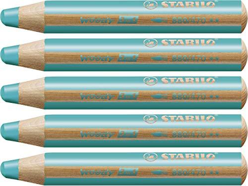 STABILO Woody 3 in 1 matitone colorato colore Turchese - Confezione da 5