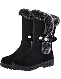 SHIXR Caliente botas de mujer oto?o/invierno nuevo estilo ¨¢spero alrededor de cabeza con nieve de pelo de conejo , black , 41