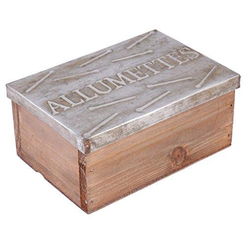 Caja rústica de madera natural resistente con tapa de metal