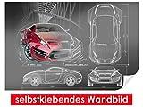 Adhesivo Pared de Concept Car–Fáciles de pegar–Wall Print, Wall Paper, Póster, pantalla con pegamento de puntos de vinilo para paredes, puertas, muebles y superficies lisas de Trend paredes, 90 x 60 cm