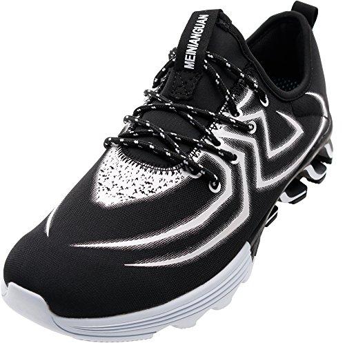JOOMRA Herren Auslauf Lauf-Schuhe Schuh Outdoor Fitnessschuhe Sneaker für Sport IM Freien Mode Luftkissen Mens Schwarz-Weiss Spider Spinne 44 EU (Sport-schuhe Für Sale)