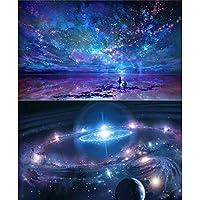 2 Paquetes 5D Pintura de Diamantes BRICOLAJE Pintura por Números Kits para Adultos, Cielo Nocturno