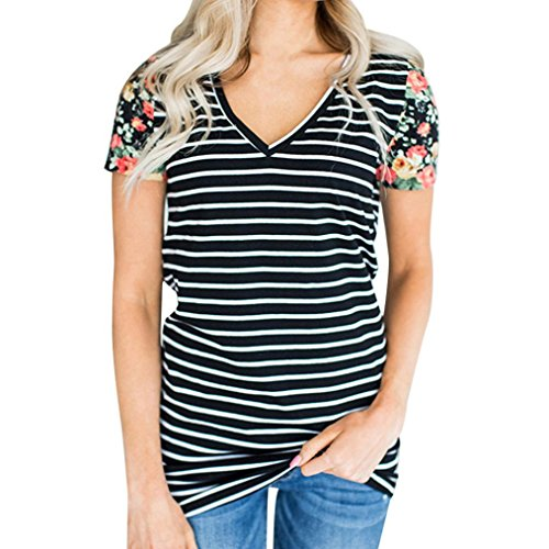 Longra Damen Sommer Kurzarm T-Shirt IM Maritimen Streifen-Look Damen V-Ausschnitt Gestreift Print-Shirts mit Blume Sommer Oberteil Tops Bluse Shirt Oversize-Shirts (Black, 2XL)