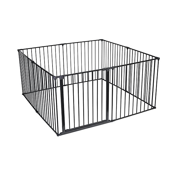 Safetots Play Pen (Black, 144 x 144 cm) Safetots Perfect solution for keeping baby in a safe area whilst they rest and play Includes 1x 72cm Gate Opening Panel and 7x 72cm Panels Extra wide door section for easy access 2