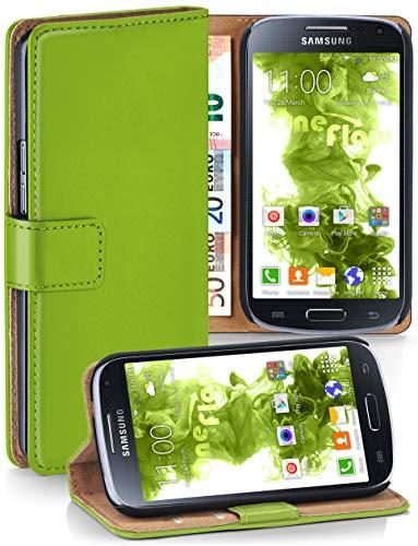 moex® Booklet mit Flip Funktion [360 Grad Voll-Schutz] für Samsung Galaxy S4 | Geldfach und Kartenfach + Stand-Funktion und Magnet-Verschluss, Grün