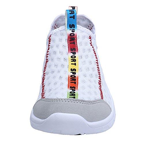 Xkmon Zapatillas Aqua Para Mujer Zapatillas De Agua De Secado Rápido Zapatillas Deportivas Sin Cordones De Malla Blanca