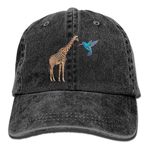 Giraffe and Hummingbird Unisex Cowboy Baseball Cap Dad Hat Trucker Hats Hummingbird Fish