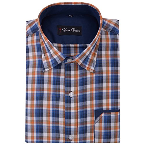 Your Desire Shirts Men Cotton Orange and Dark Blue Formal Shirt (Size 38)