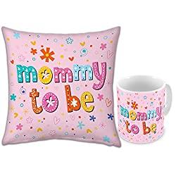 Gift for Mom Mothers Day Birthday Anniversary Mommy To Be Light Pink Printed Small Cushion 12X12 with Filler and Best Quality Ceramic Mug set of 2 Everyday Home Decor Gifting