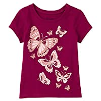 The Children's Place Girls' Glitter Butterfly Graphic T-Shirt, 2 Years, Rose Parade