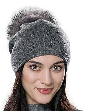 URSFUR Unisex Weiche Wolle Mütze Strickmütze Kappen mit Fellbommel aus Fuchspelz /Waschbär Fell